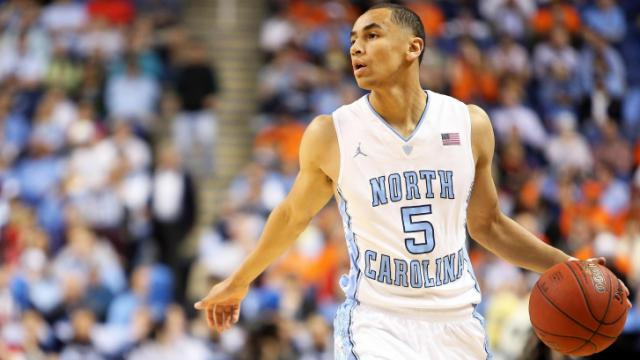 North Carolina's Marcus Paige during the Tar Heels' ACC Tournament game verus Pitt on Friday, March 14, 2014 in Greensboro, NC.  (Photo by Jack Morton)
