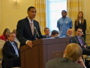 University of North Carolina at Chapel Hill basketball player Marcus Paige addresses the BOT on March 27, 2014.