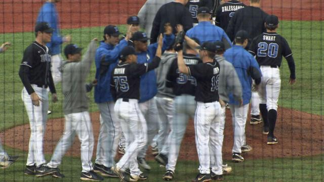 The Blue Devils celebrated a 3-2 win over North Carolina.