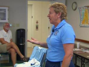 Sylvia Hatchell talks to cancer patient about her recovery