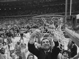 Smith cuts the nets after 1982 NCAA championship win
