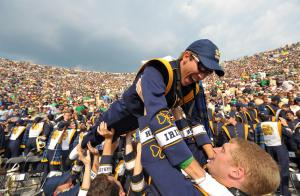 Sept. 5, 2009; South Bend, IN, USA; The band for the Notre Dame Fighting Irish celebrates after a touchdown against the Nevada Wolfpack at Notre Dame Stadium. The Notre Dame Fighting Irish defeated the Nevada Wolfpack 35-0. Mandatory Credit: Matt Cashore-US PRESSWIRE
