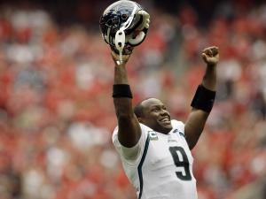 Sept 27, 2009; Houston, TX, USA; Jacksonville Jaguars quarterback David Garrard (9) reacts against the Houston Texans in the fourth quarter at Reliant Stadium. The Jaguars defeated the Texans 31-24. Mandatory Credit: Brett Davis-US PRESSWIRE