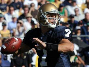 Notre Dame quarterback Jimmy Clausen throws a pass during first-quarter during action in an NCAA college football game with Purdue, Saturday, Sept. 27, 2008, in South Bend, Ind. (AP Photo/Joe Raymond)
