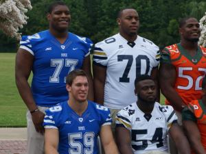 Duke's Laken Tomlinson and Kelby Brown on the first day of the ACC Football Kickoff at the Grandover in Greensboro, July 20, 2014.