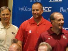 The coaches took center stage Monday on the second day of the ACC Kickoff at the Grandover in Greensboro, July 21, 2014.