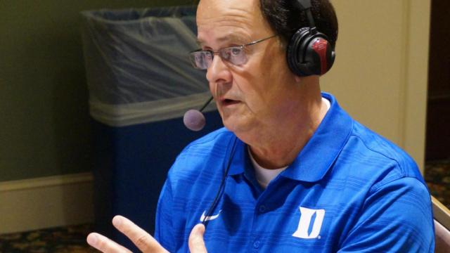 Duke head coach David Cutcliffe at the ACC Kickoff in Greensboro Monday, July 21, 2014.