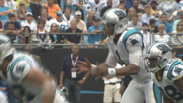 Cam Newton taks a snap in the Panthers vs. Saints game at Bank of America Stadium Sunday, Sept. 16.