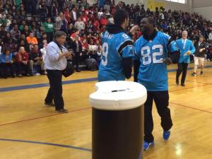 Panthers players step away from the field to hang with the kids