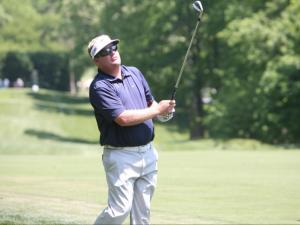 Former NC State golfer Carl Pettersson watches a shot during the Wells Fargo Championship Pro-Am in Charlotte Wednesday.
