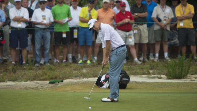 Bill Haas putts during the second round of the 2014 U.S. Open at Pinehurst Resort & C.C. in Village of Pinehurst, N.C. on Friday, June 13, 2014.  (Copyright USGA/Hunter Martin)