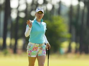 Morgan Pressel waves after making a birdie putt on the sixth hole during the second round at the 2014 U.S. Women's Open at Pinehurst Resort & C.C. in Village of Pinehurst, N.C. on Friday, June 20, 2014.  (Copyright USGA/Matt Sullivan)