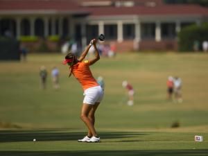 Paula Hurtado plays her tee shot on the second hole during the practice round of the 2014 U.S. Women's Open at Pinehurst Resort & C.C. in Village of Pinehurst, N.C. on Monday, June 16, 2014.  (Copyright USGA/Michael Cohen)
