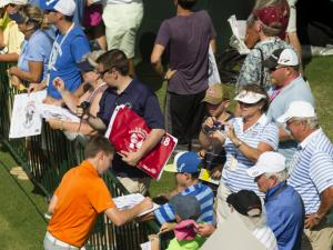 Matthew Fitzpatrick signs autographs for fans during a practice round before the 2014 U.S. Open at Pinehurst Resort & C.C. in Village of Pinehurst, N.C. on Monday, June 9, 2014.  (Copyright USGA/Darren Carroll)