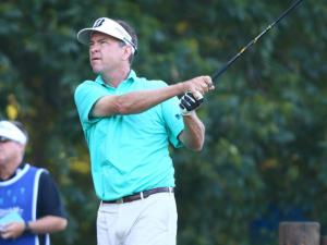 Davis Love III after a tee shot on the first day of the 2014 Wyndham Championship. Sedgefield Country Club hosted the 2014 Wyndham Championship on August 14, 2014 in Greensboro, North Carolina. (Jerome Carpenter/WRAL Contributor)