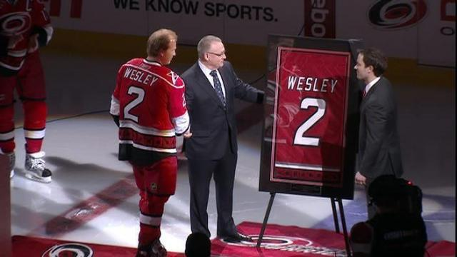 Glen Wesley's jersey raised to the rafters