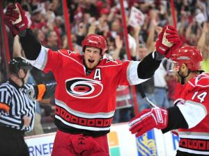 Eric Staal and Sergei Samsonov celebrate the Staal goal.  Photo by Mike Hurst.