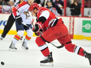 Zach Boychuk (11) skates with the puck during the Carolina Hurricanes vs. Florida Panthers game, Monday, January 3, 2011 at the RBC Center in Raleigh, NC.