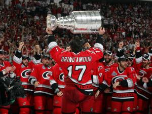 RALEIGH, NC - JUNE 19: Rod Brind'Amour #17 of the Carolina Hurricanes with the Stanley Cup after defeating the Edmonton Oilers in game seven of the 2006 NHL Stanley Cup Finals on June 19, 2006 at the RBC Center in Raleigh, North Carolina. The Hurricanes defeated the Oilers 3-1 to win the Stanley Cup finals 4 games to 3. (Photo by Gregg Forwerck/Getty Images)