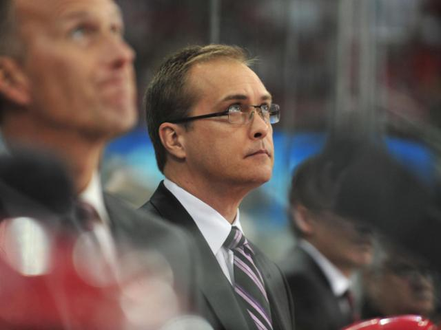 Head coach of the Hurricanes, Paul Maurice, during the Carolina Hurricanes vs. Philadelphia Flyers game, Friday, February 18, 2011 at the RBC Center in Raleigh N.C. <br/>Photographer: Will Bratton