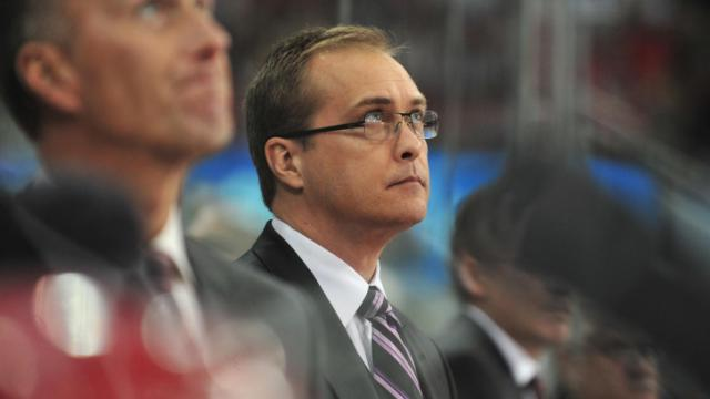 Head coach of the Hurricanes, Paul Maurice, during the Carolina Hurricanes vs. Philadelphia Flyers game, Friday, February 18, 2011 at the RBC Center in Raleigh N.C.