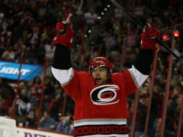 Ruutu celebrates after his second goal during the Penguins vs. Hurricanes game on November 12, 2011 in Raleigh, NC.<br/>Photographer: Jerome  Carpenter