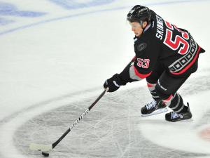 Jeff Skinner (53) finds room to skate during the Carolina Hurricanes vs. New York Rangers game in Raleigh, N.C., Thursday, December 1, 2011.