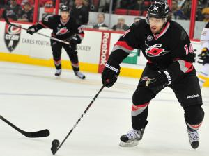 Andreas Nodl (14) during the Carolina Hurricanes vs. Buffalo Sabres hockey game in Raleigh, N.C. Friday, January 6, 2012.