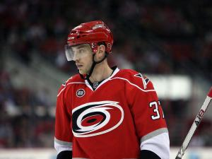 Tim Brent of the Carolina Hurricanes during the Hurricanes' 3-2 shootout loss to the Anaheim Ducks on Thursday, February 23, 2012 in Raleigh, NC (Photo by Jack Morton).