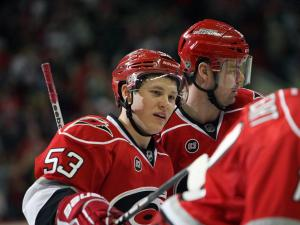 Jeff Skinner of the Carolina Hurricanes during the Hurricanes' game versus the Anaheim Ducks on Thursday, February 23, 2012 in Raleigh, NC (Photo by Jack Morton).