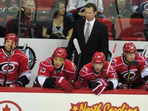 Canes head coach Kirk Muller during the Carolina Hurricanes vs. Winnipeg Jets NHL hockey game in Raleigh, N.C. Friday, March 30, 2012.