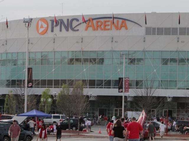 The PNC Arena Saturday afternoon before the Carolina Hurricanes last Saturday home game. (photo by Wes Hight).