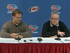 Carolina Hurricanes head coach Kirk Muller and general manager Jim Rutherford.