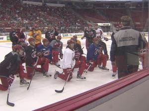 Kirk Muller addresses the team at their first practice following the lockout Sunday at PNC Arena.