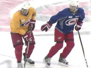 Kevin Westgarth spent much of the NHL lockout working out with Carolina Hurricanes players so when the team went out looking for a big, physical forward, the former Los Angeles King was a logical fit.