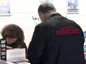 Carolina Hurricanes fans purchase tickets for the abbreviated 2013 season on Jan. 16, 2013, the first day of sales.