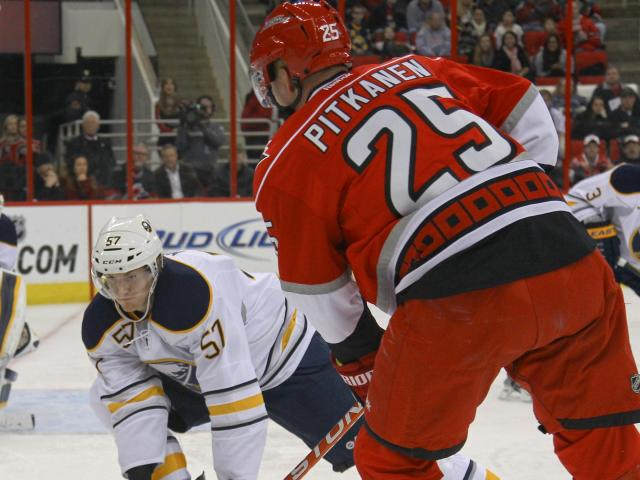 Carolina Hurricanes defenseman Joni Pitkanen (25) takes a shot during the game Thursday January 24, 2013. (Photo by Jack Tarr)