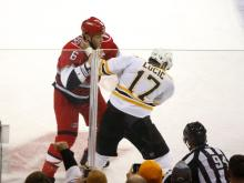 The Boston Bruins broke a 3-3 tie with less than two minutes to play in the game and defeated the Carolina Hurricanes 5-3 Monday night at PNC Arena.