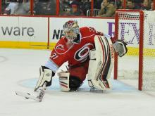 The Carolina Hurricanes surrendered three first-period goals and dropped the first game of a six-game road trip Saturday, 5-3 to the Philadelphia Flyers.