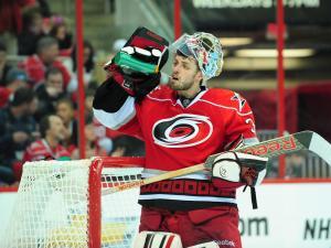 Dan Ellis (31) during the Carolina Hurricanes vs. Toronto Maple Leafs NHL hockey game, Thursday, February 14, 2013 in Raleigh, NC.