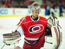 Justin Peters, called up Monday from the AHL's Charlotte Checkers, will get the start in goal Tuesday when the Carolina Hurricanes host the Buffalo Sabres.