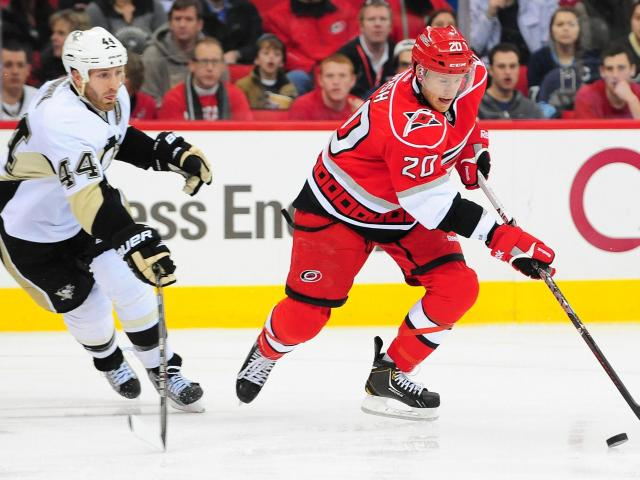 Riley Nash (20) skates with the puck during the Carolina Hurricanes vs. Pittsburgh Penguins NHL hockey game, Thursday, February 28, 2013 in Raleigh, NC.<br/>Photographer: Will Bratton