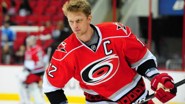 Eric Staal (12) before the Carolina Hurricanes vs. Pittsburgh Penguins NHL hockey game, Thursday, February 28, 2013 in Raleigh, NC.