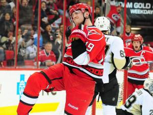 Jiri Tlusty (19) reacts after scoring a second period gaol during the Carolina Hurricanes vs. Pittsburgh Penguins NHL hockey game, Thursday, February 28, 2013 in Raleigh, NC.