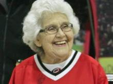 Joyce Johnston entertained as the Dancing Granny at Carolina Hurricanes games.
