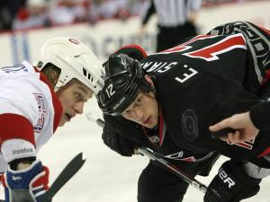 Carolina's Eric Staal during the Hurricanes' 4-2 loss to the Montreal Canadiens on Thursday, March 7, 2013 in Raleigh, NC (Photo by Jack Morton).