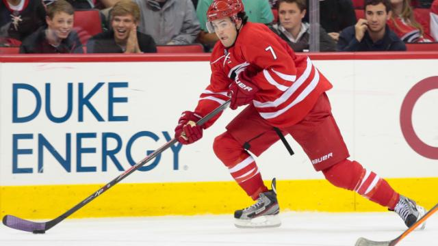 Carolina Hurricanes defenseman Ryan Murphy (7) on October 15, 2013  in Raleigh North Carolina. (Photos By Anthony Barham)