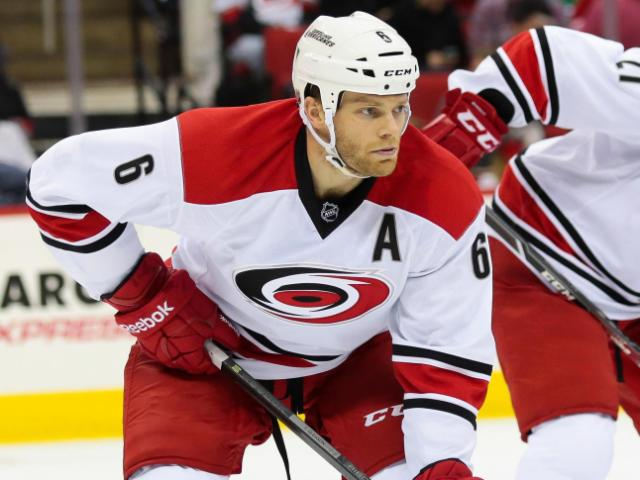 Carolina Hurricanes defenseman Tim Gleason (6) lines up during the power play during the Hurricanes' 3-0 home loss to the Lightnings at PNC Arena on November 1, 2013 in Raleigh, NC (Photos By Anthony Barham)