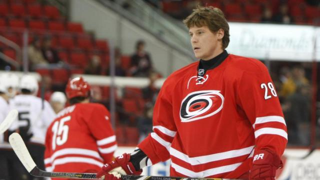 Alexander Semin (28) warms up before the start of the game. The Hurricanes hosted the Ducks on November 15, 2013  at the PNC Center in Raleigh, North Carolina.