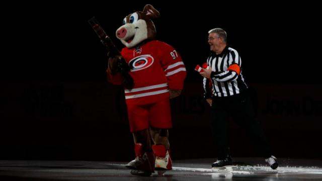Stormy takes the ice before the start of the game. The Hurricanes hosted the Ducks on November 15, 2013  at the PNC Center in Raleigh, North Carolina.